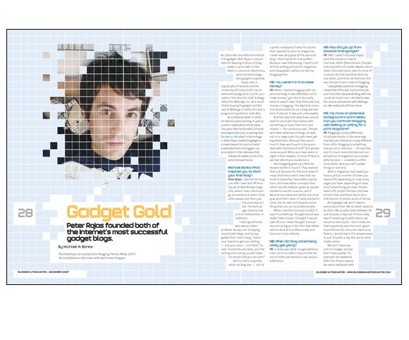 Gadget Gold magazine spread